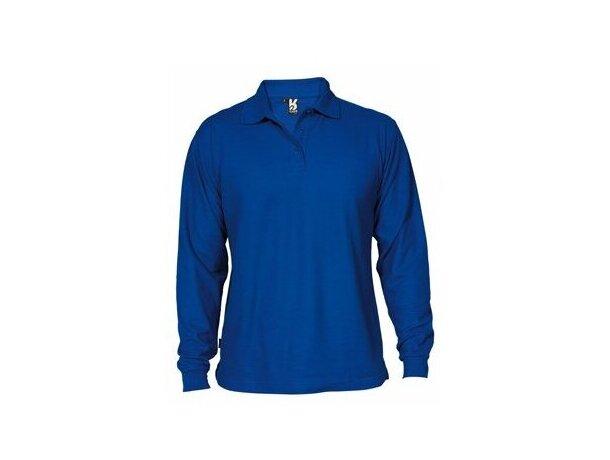 Polo adulto en manga larga personalizado azul