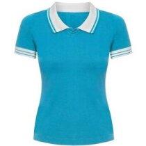 Polo manga corta de mujer cuello y mangas combinadas 165 gr personalizado azul