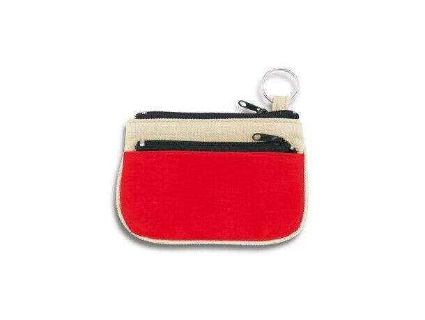 Monedero con dos cremalleras combinado en poliester y PVC personalizado rojo