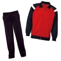Chándal de poliester pantalón recto y chaqueta combinada grabado