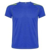 Camiseta manga corta de poliester con detalles azul