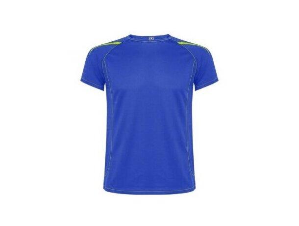 Camiseta manga corta de poliester con detalles personalizada azul