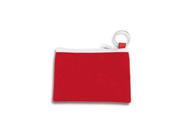 Monedero con cierre de cremallera y anilla para las llaves rojo