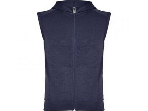 Chaleco deportivo 100% algodón con capucha personalizado azul