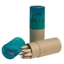 Tubo en cartón de 12 lápices con sacapuntas personalizada azul