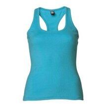 Camiseta de mujer espalda cruzada azul