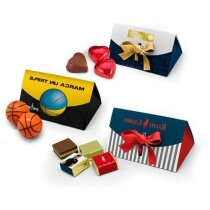 Caja con diferentes opciones de bombón personalizada