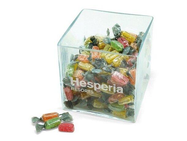 Caramelera cuadrada de cristal grande personalizada