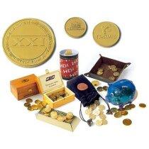 Moneda de chocolate con envoltorio oro o plata personalizada