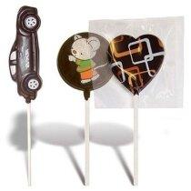 Piruletas de chocolate con envoltorio transparente personalizada