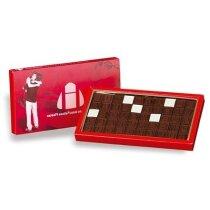 Caja mensaje con fichas de chocolate personalizada