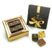 Caja pequeña con 4 cortados de chocolate personalizada