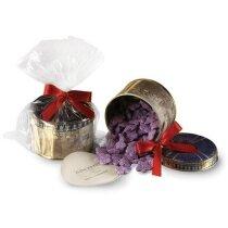 Bote de caramelos violetas personalizado