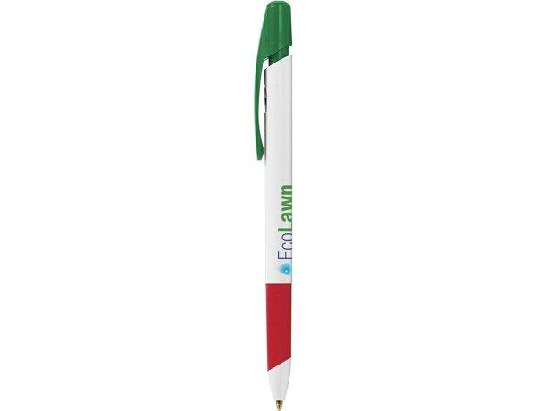 Bolígrafo reciclado con grip suave de la marca Bic personalizado verde