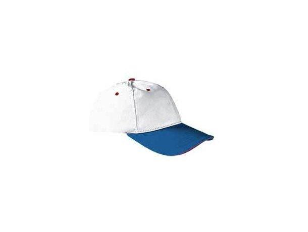 Gorra de 6 paneles en algodón grueso y colores combinados Valento personalizada blanco/azul