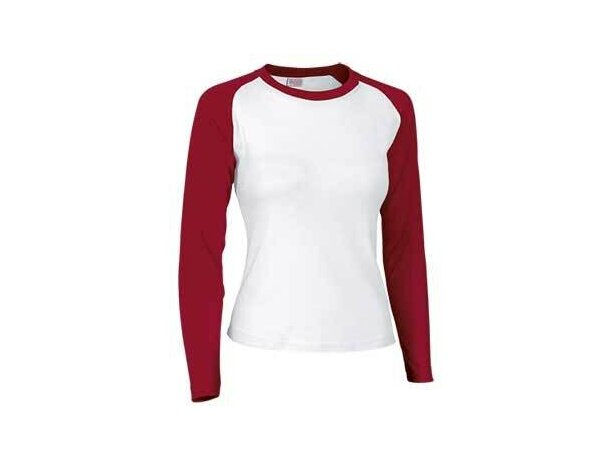 Camiseta manga larga de mujer combinada 200 gr Valento blanca