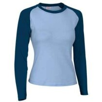 Camiseta manga larga de mujer combinada 200 gr Valento personalizada azul claro