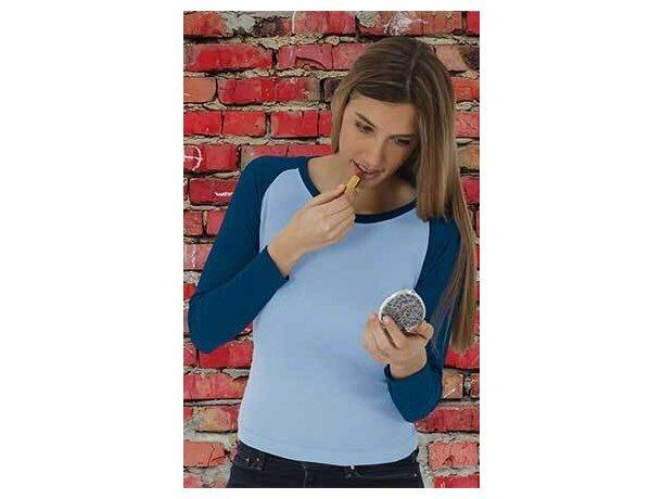Camiseta manga larga de mujer combinada 200 gr Valento