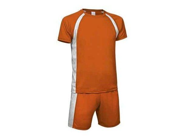 conjunto de fútbol camiseta mas pantalón colores surtidos Valento merchandising naranja
