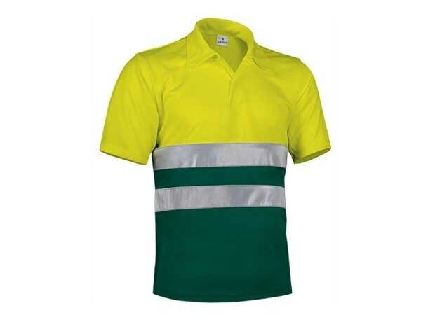 Polo de poliester bicolor con botones y bandas reflectantes Valento personalizado verde