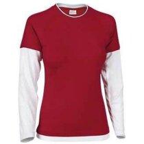 Camiseta doble manga larga de mujer 200 gr Valento roja