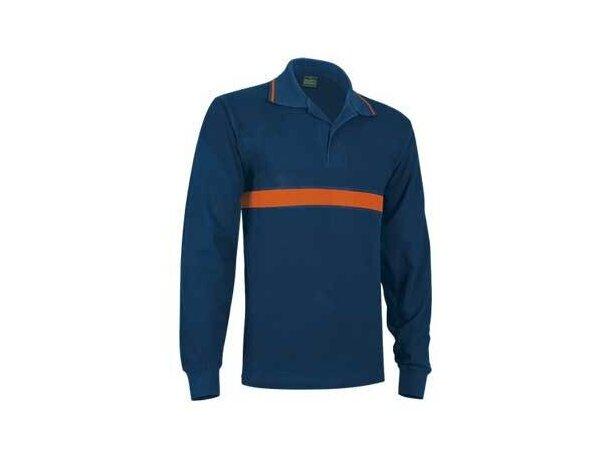Polo  de manga larga franja naranja Valento para empresas azul