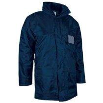 Chaquetón largo impermeable con capucha Valento azul