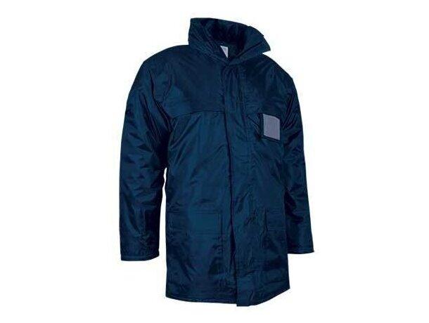 Chaquetón largo impermeable con capucha Valento azul personalizada