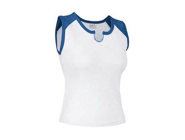 Camiseta de mujer sin mangas detalles de color Valento personalizada blanca