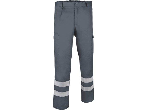 Pantalón de poliester multibolsillos con reflectantes Valento personalizado gris