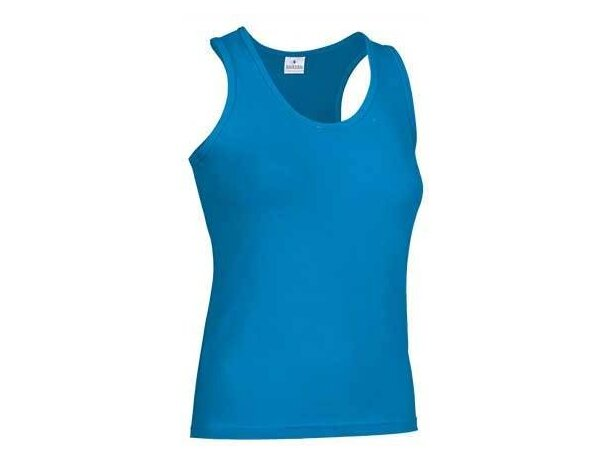 Camiseta de  tirantes mujer lisa Valento personalizada azul claro