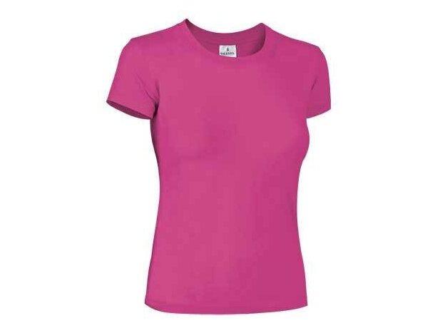 Camiseta Clasica mujer Valento fucsia grabada