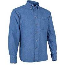 Camisa De Hombre Manga Larga Tejido Vaquero Valento Azul
