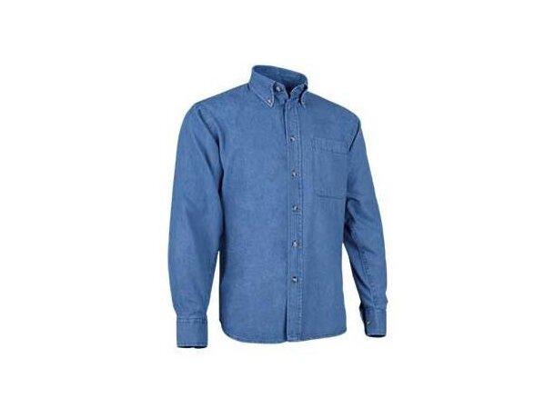 63e98d501 Camisa de hombre manga larga tejido vaquero Valento azul