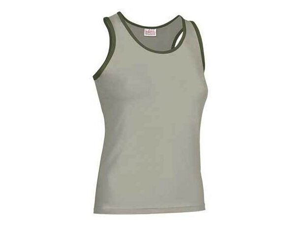 Camiseta de tirantes de mujer ribete combinado Valento beige