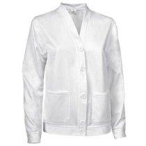 Chaqueta sin cuello de poliester con botones Valento personalizada blanca