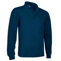 Polo poliester algodón fino Valento personalizado azul
