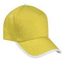Gorra básica ribete blanco Valento grabada amarilla