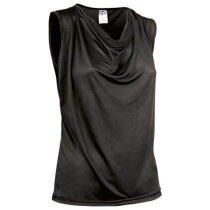 Camiseta de mujer sin mangas escote de ondas Valento barata negra
