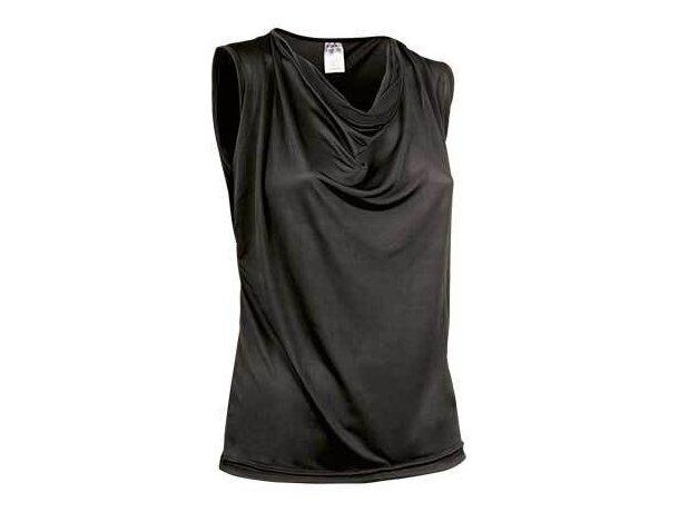Camiseta de mujer sin mangas escote de ondas Valento personalizada negra