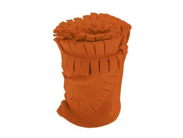 Manta para sofá polar con flecos Valento naranja personalizado