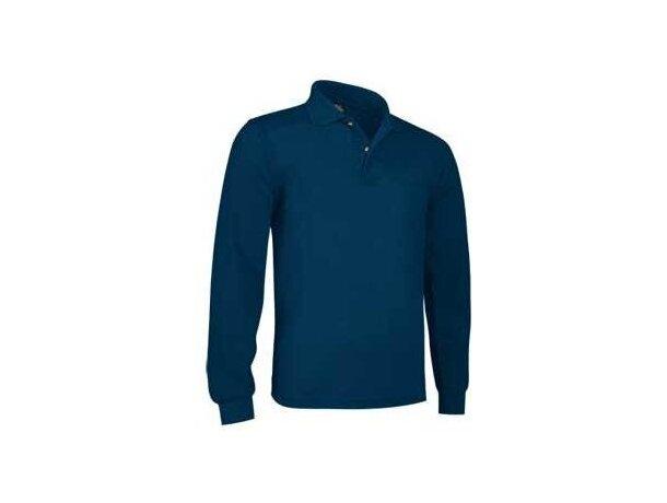 Polo con bolsillo de manga larga Valento personalizado azul