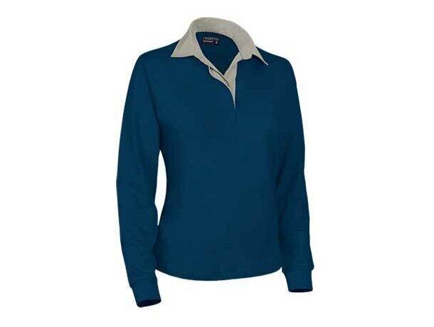Polo de mujer manga larga liso Valento personalizado azul