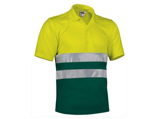Polo de poliester bicolor con botones y bandas reflectantes Valento amarillo fluor-verde botella
