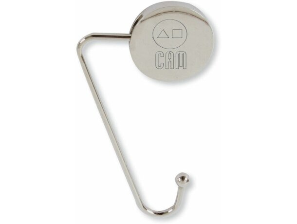 Cuelgabolsos de metal niquelado redondo personalizada