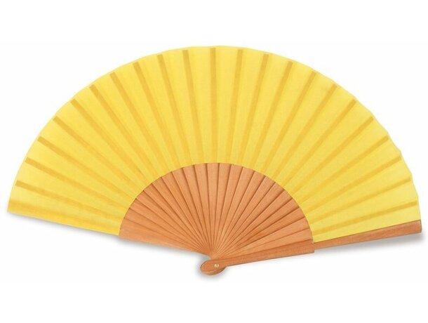 Abanico de madera lacada 23 varillas personalizado amarillo