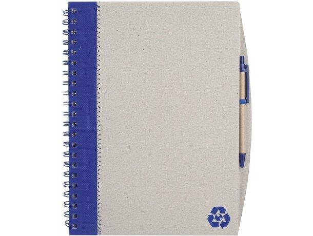 Libreta A4 en cartón reciclado con boligrafo grabada azul