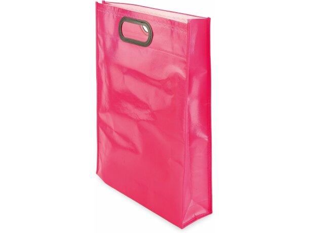 Bolsa de non woven laminado con brillo y asa integrada personalizada fucsia