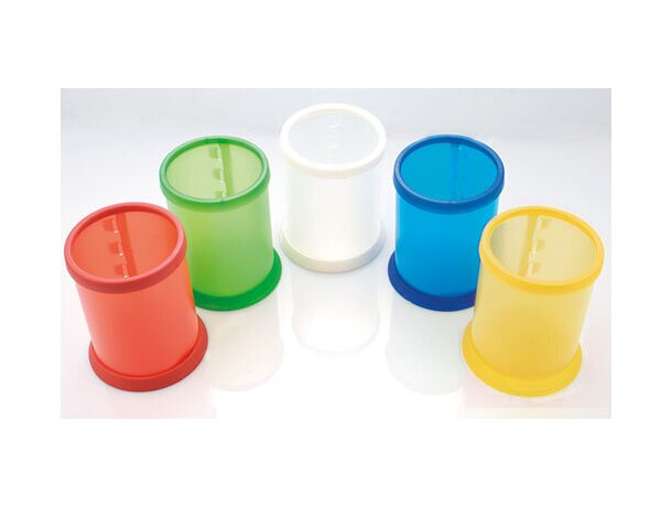 Bote para lápices en plástico blanco