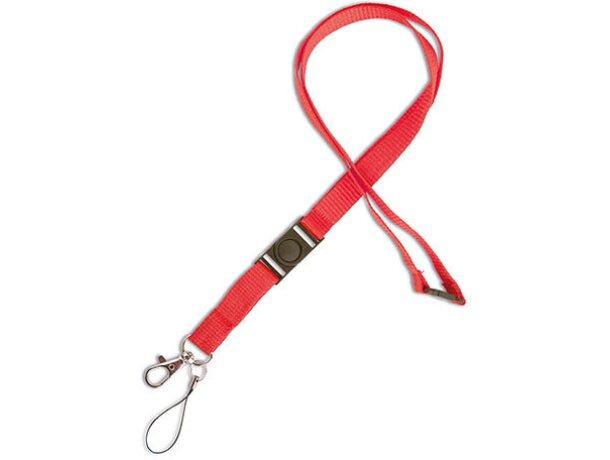 Lanyard doble de poliéster con enganche de hierro rojo